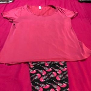 Lularoe outfit with pink top/cute bird leggings.